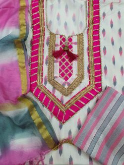 Partywear Magenta rose and white Gota Embroided cotton suit with Kota silk dupatta