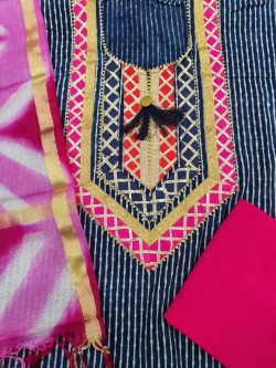 Partywear Magenta rose and Prussian blue Gota Embroided cotton suit with Kota silk dupatta