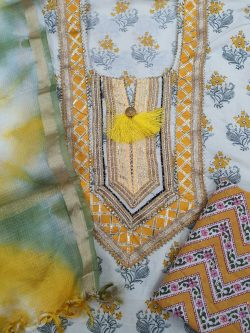 Partywear Amber and white Gota Embroided cotton suit