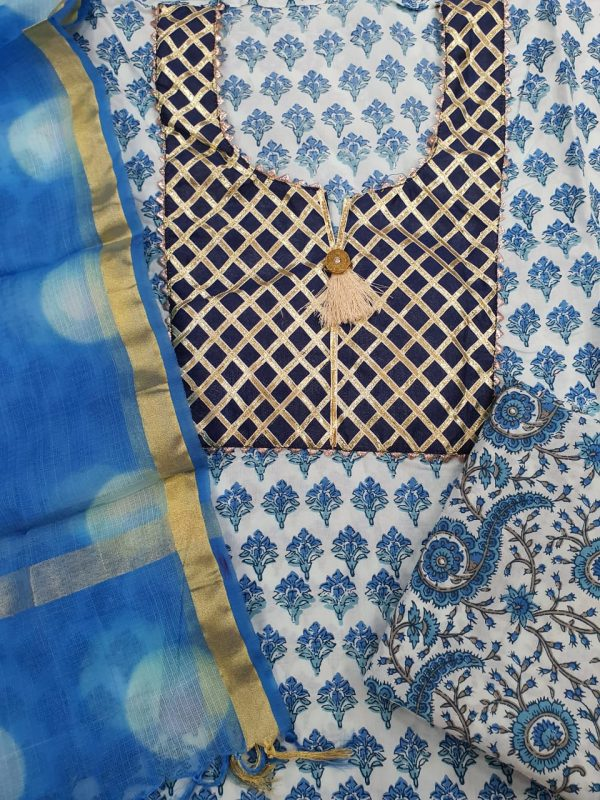 Partywear Azure and white Gota Embroided cotton suit