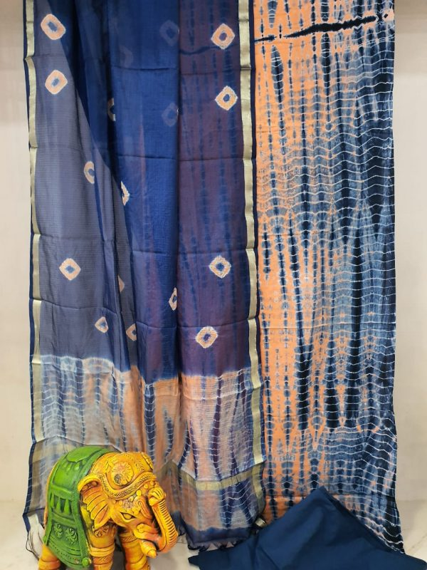 Navy blue and Apricot Cotton suit with kota silk dupatta