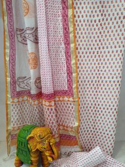 Summer wear pink and white Cotton suit with kota silk dupatta