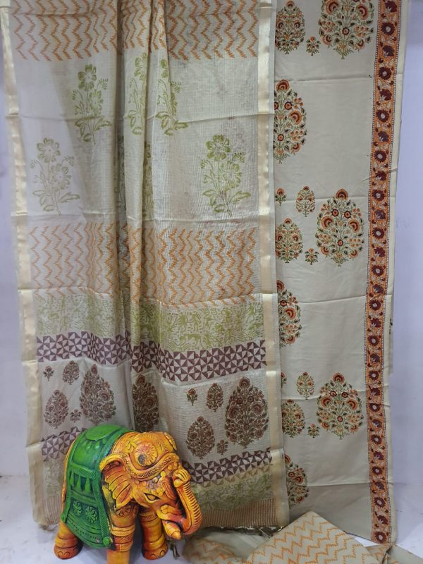 daily wear silver Cotton suit with kota silk dupatta