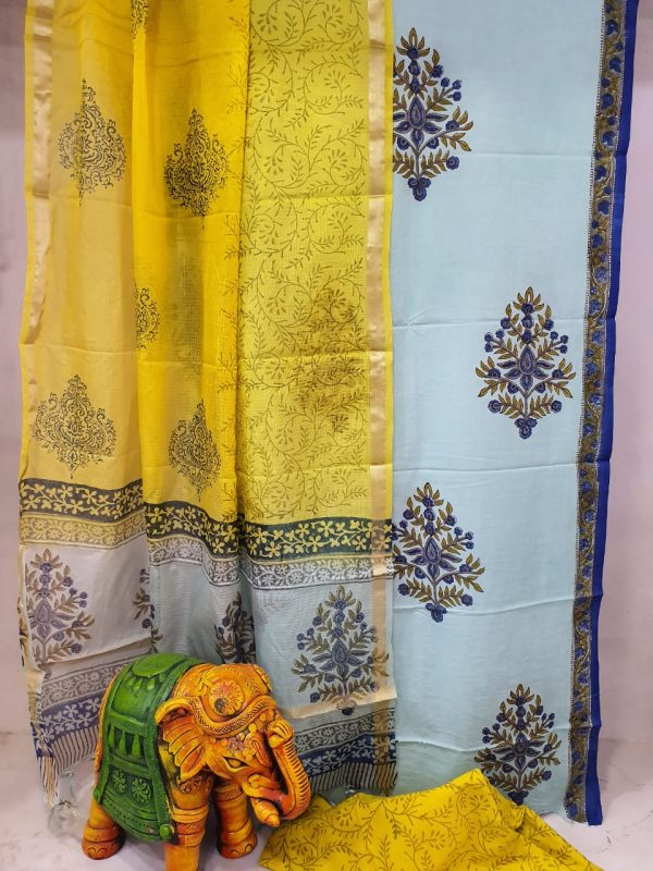 daily wear Yellow and silver Cotton suit with kota silk dupatta