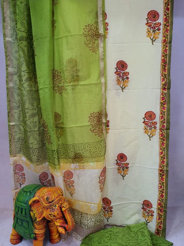 Aquamarine and Chartreuse green Cotton suit with kota silk dupatta