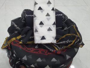 Regular wear Black and white  cotton suit Natural Zari border suit set