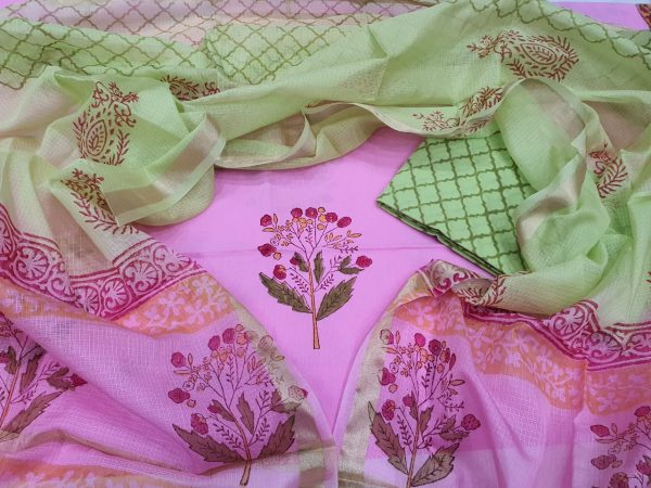 Orchid and Lime Cotton suit with kota silk dupatta
