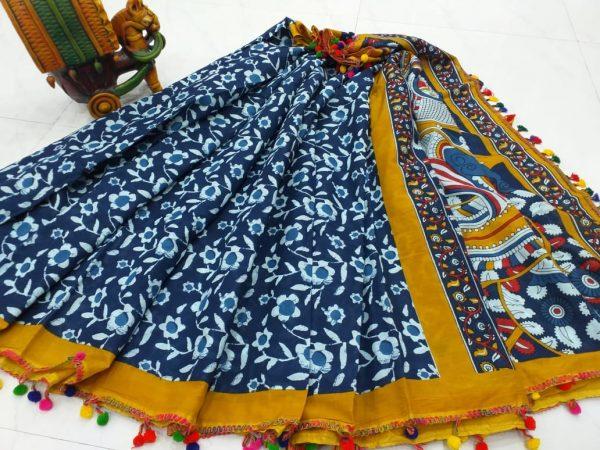 blue and amber cotton pompom saree