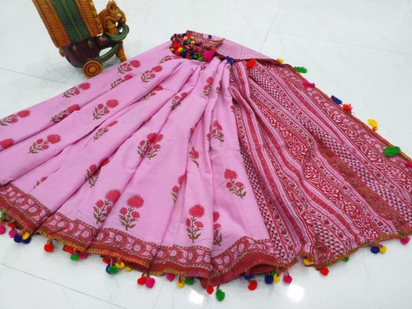 Partywear Pink Pompom cotton mulmul saree with Blouse