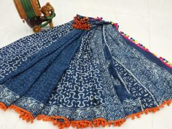Party wear Blue Pompom cotton mulmul saree with Blouse