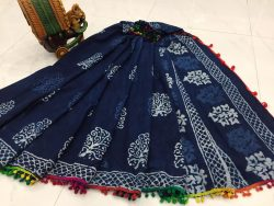 Navy blue cotton pompom saree with blouse