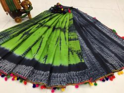 Chartreuse green and Black cotton pompom saree with blouse