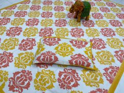 Amber Pigment print pure cotton bedsheet with 2 pillow cover