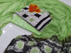 Summer wear Spring green and black Cotton suit Natural Zari border suit set