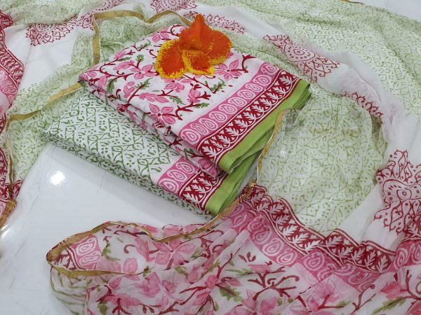summer wear Pink and white Natural Zari border suit set
