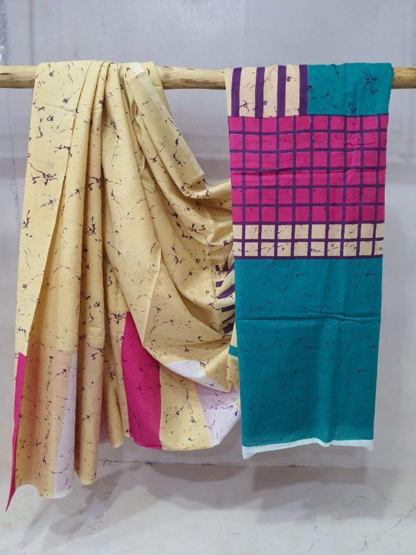 Batik Print Cotton Saree (2)