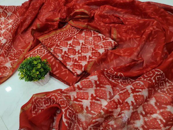 Orange-red Jaipuri bagru dicharge color chanderi silk suit