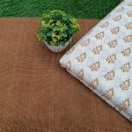 brown and White Unstitched running material set
