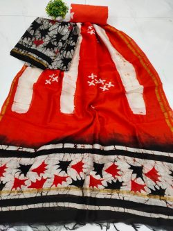 Orange and white Unstitched chanderi suit for ladies
