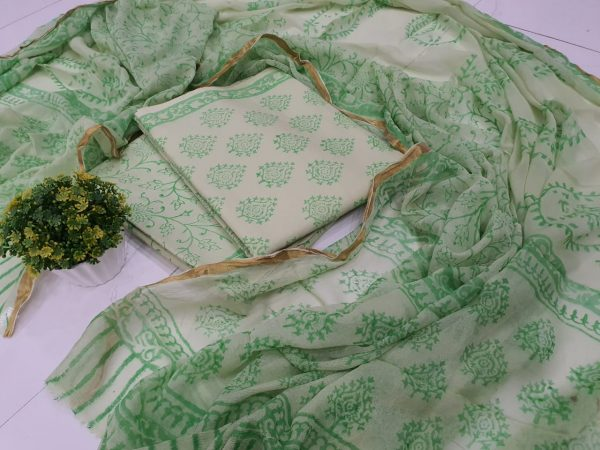 beautiful Green zari border cotton suit pure chiffon dupatta
