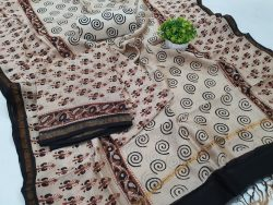Unstitched Brown and White chanderi salwar kameez suit