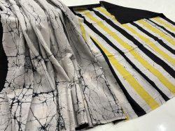 jaipuri Black and White cotton mulmul saree for ladies
