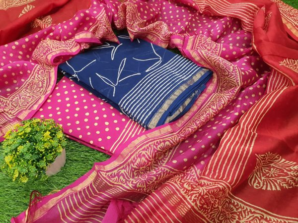 Pink and blue chanderi silk suit with cotton bottom