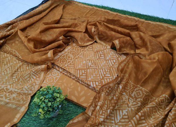 Copper bagru print chanderi suit for ladies