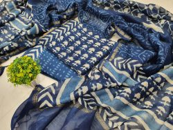 Party wear Traditional Blue chanderi suit set