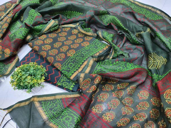 Exclusive Green Chanderi Silk suit chanderi dupatta