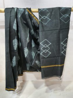 Partywear unstitched blouse Brown Chanderi saree with blouse
