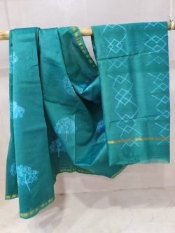 Exclusive Turquoise Blue Chanderi saree for women