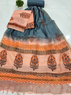Superior quality Apricot and Cerulean chanderi salwar kameez suit
