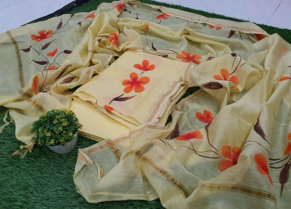 Office wear Cream hand painted Exclusive chanderi suit for ladies