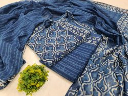 Unstitched Persian blue Cotton dupatta suit set