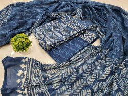 Traditional Persian blue Cotton dupatta suit set