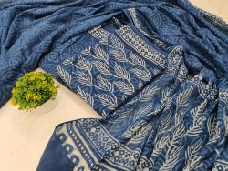 Superior quality Dark Sapphire Cotton mulmul dupatta set
