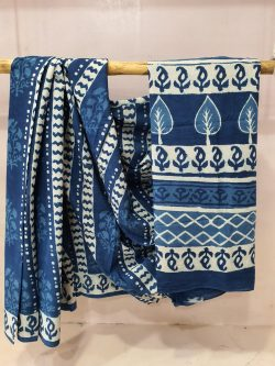 Traditional Persian blue cotton mulmul saree for for women