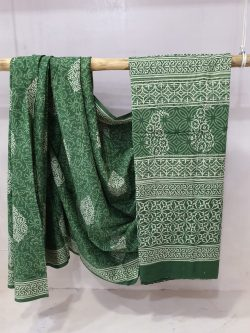 Traditional Green cotton mulmul saree for women