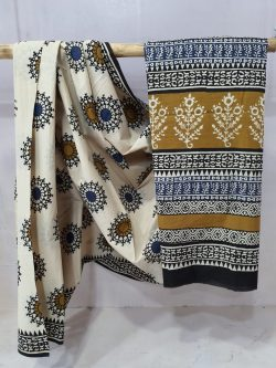 Exclusive Bronze and White cotton mulmul saree with blouse