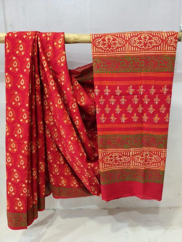 Cotton Saree Crimson