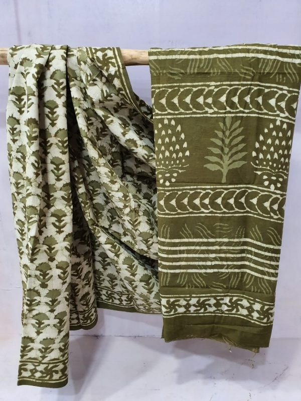 Olive Cotton mulmul saree with blouse