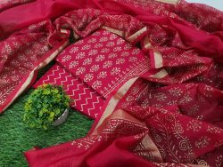Natural Crimson Cotton suit with kota silk dupatta for women