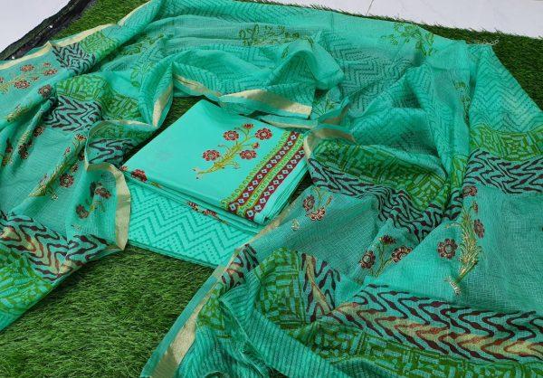 Cotton Suit Kota Silk Dupatta Floral