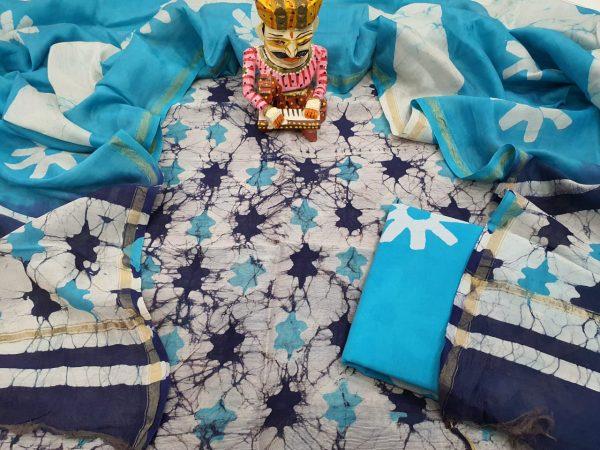 Exclusive Azure and white  Chanderi Silk suit chanderi dupatta