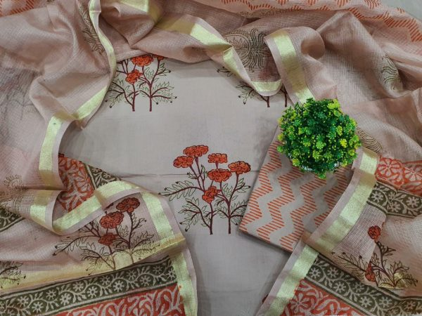 Mugal print Gray and Beige Cotton suit with kota silk dupatta for women