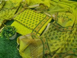 Office wear Traditional Lime Cotton suit with kota silk dupatta