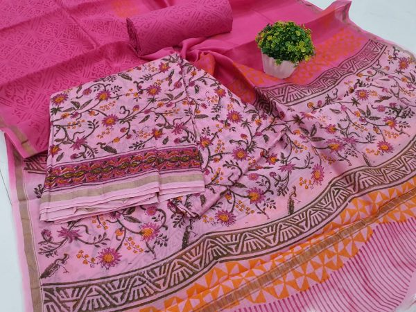 Pink Rapid Printed chanderi silk suit with cotton bottom