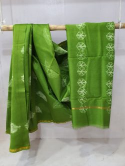 Green chanderi silk saree with blouse for ladies