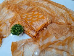 Orange discharge block print cotton suit with kota doria dupatta